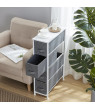 4 Drawer Narrow Tall Vertical Storage Dresser Tower-White Wood Top-Sturdy Metal Frame-Linen Fabric Storage Bins with Pull Tabs-Organizer Unit for Hallway,Entryway,Closets and Bedroom-Gray