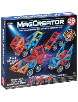 Cra-Z-Art® MagCreator? Magnetic 7-in-1 Vehicle Toy Set 26 Pieces
