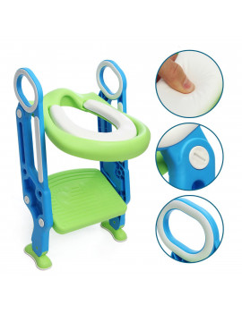 165 lb Adjustable Kids Training Potty Trainer Toilet Seat Safety Seat Chair Toddler With Ladder Step Up Stool Non-slip Folding Seat