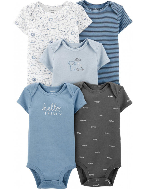 Carters Baby Boys 5-pk. Hello There Animal Bodysuits