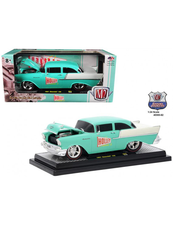 """1957 Chevrolet 150 """"Holley"""" Sea Foam Green and India Ivory 1/24 Diecast Model Car by M2 Machines"""