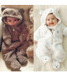 Newborn Toddler Baby Girl Boy Hooded Romper Jumpsuit Winter Outfits Clothes