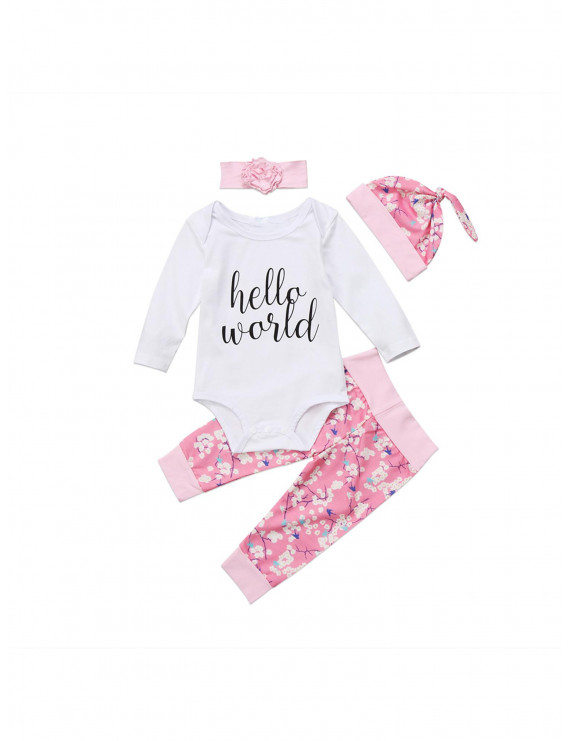 4PCS Newborn Infant Baby Girls Hello World Romper+Pants+Hat+Headband Outfits Set Clothes 0-24M