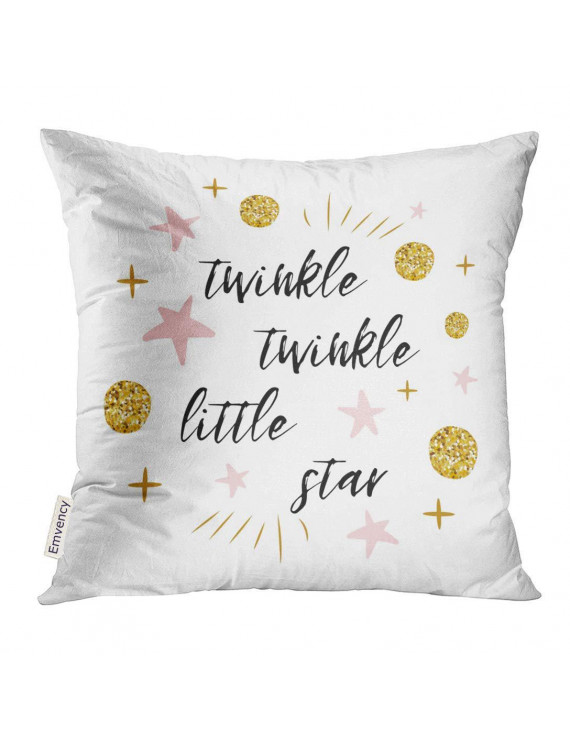 USART Twinkle Little Star Text with Cute Gold Pink Colors for Girl Children Birthday Label Sign Inspirational Pillow Case 20x20 Inches Pillowcase