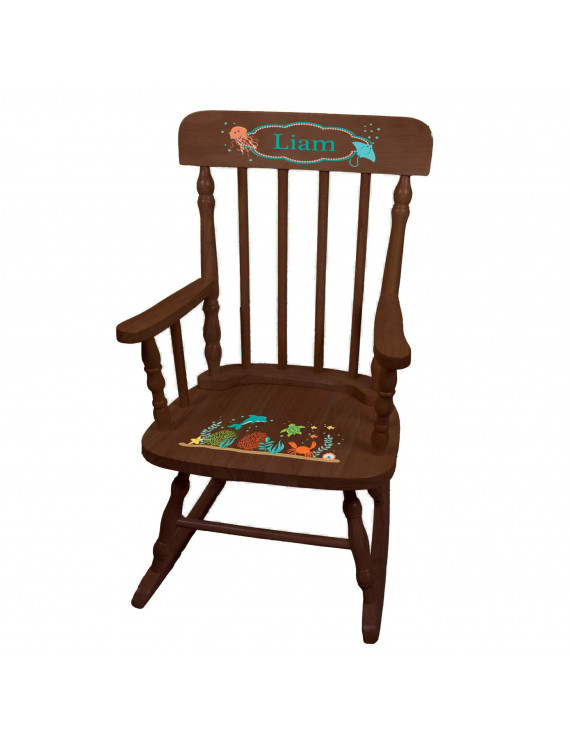 Child's Sea Life Spindle Rocking Chair-Espresso