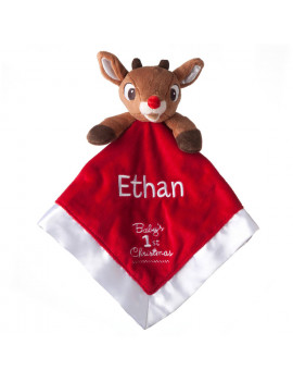 Personalized Babys First Christmas Blankey Rudolph