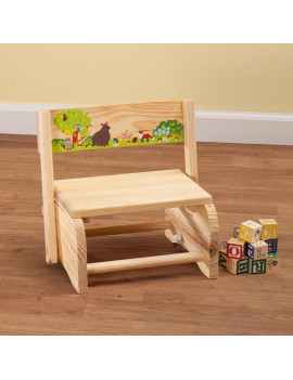 2-in-1 Children's Step Stool and Chair, Woodland Animals Design