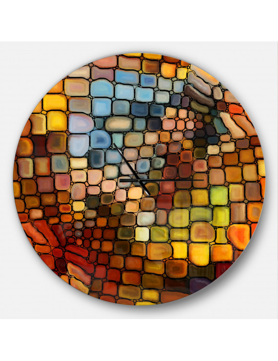 Designart 'Dreaming of Stained Glass' Metal Wall Clock