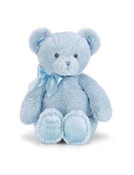 Bearington Baby's First Teddy Bear Blue Plush Stuffed Animal, 12""