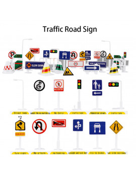 Siaonvr 28 Pcs Car Toy Accessories Traffic Road Signs Kids Children Play Learn Toy Game