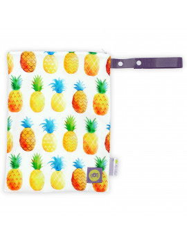 "Itzy Ritzy Sealed Wet Bag with Adjustable Handle - Washable and Reusable Wet Bag with Water Resistant Lining Ideal for Swimwear, Diapers, Gym Clothes & Toiletries; Measures 11"" x 14"", Pineapple"