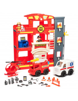 Kid Connection Fire Station Play Set, 31 Pieces