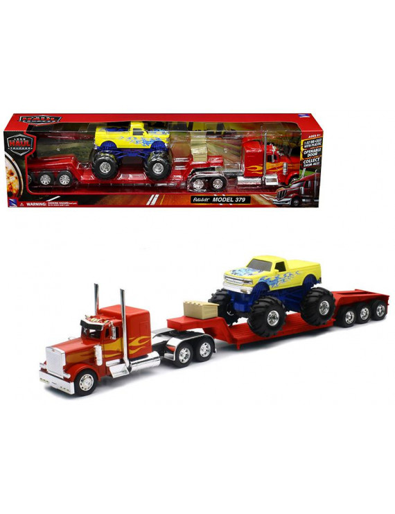 Peterbilt 379 Lowboy Truck Red with Flames and Monster Truck Yellow with Flames 1/32 Diecast Model by New Ray