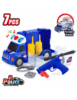 Best Choice Products 7-Piece Kids Portable Police Truck Pretend Play Toy Set w/ Storage, LED Lights, Sounds, Accessories