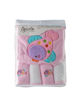 100% Cotton Terry Hooded Towel with 4 Wash Cloth - Pink