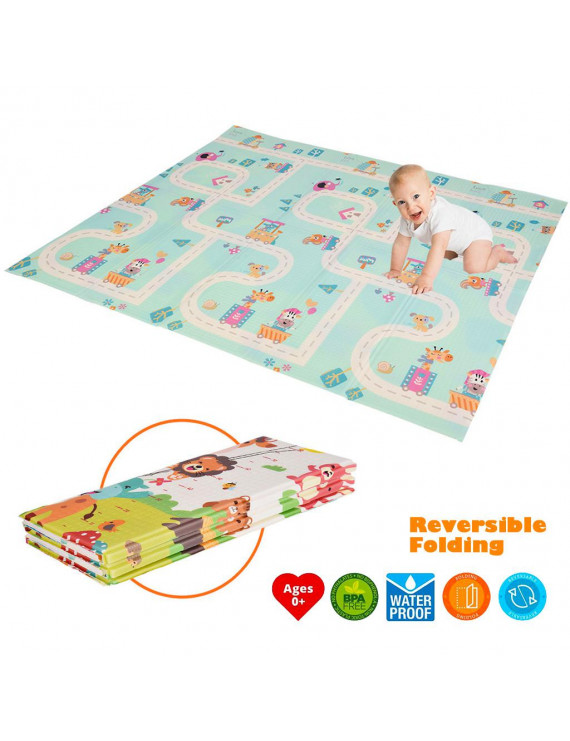 Cotonie Foldable Play Mat – Large Tummy Time Folding Reversible Baby Mats For Playroom