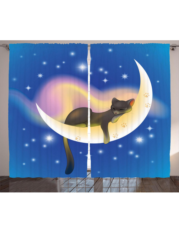 Cat Curtains 2 Panels Set, Cat Sleeping on Crescent Moon Stars Night Sweet Dreams Themed Kids Nursery Design, Window Drapes for Living Room Bedroom, 108W X 84L Inches, Blue Yellow, by Ambesonne