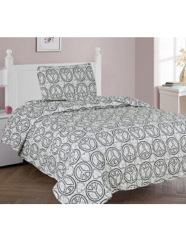 2-PC TWIN PEACE Kids Microfiber Bedding Quilt Set, 1 Print Quilted Coverlet with 1 Matching Pillow Sham Included