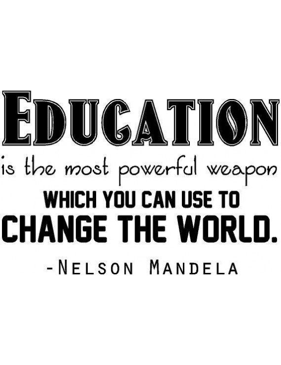 "Nelson Mandela Lettering - Inspirational Wall Quote | Bedroom Decal / Sticker - 20""x13"" [ED7]"
