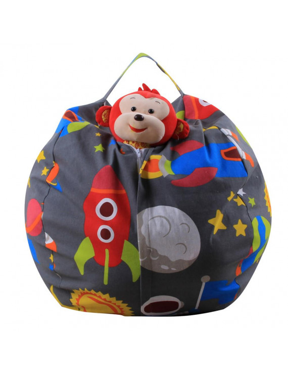 Kids Stuffed Animal Plush Toy Storage Bean Bag Soft Pouch Stripe Fabric Chair A