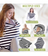 Keababies Baby Nursing Cover, Car Seat Canopy for Car Seat,All-in-1 Soft Breathable Strechy Cover, Black and White Stripes