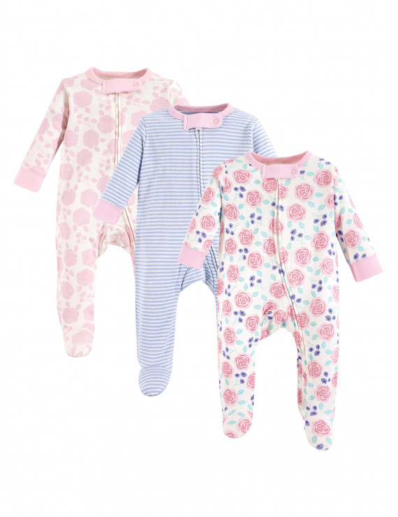 Touched by Nature Newborn Baby Girls Organic Cotton Sleep 'N Play Footie Pajamas, 3-pack