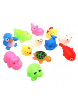 13PCS Bath Toys for Toddlers Animal Pinching Voice Float Squeaky Animal Toy Baby Children Bathing Water Toys