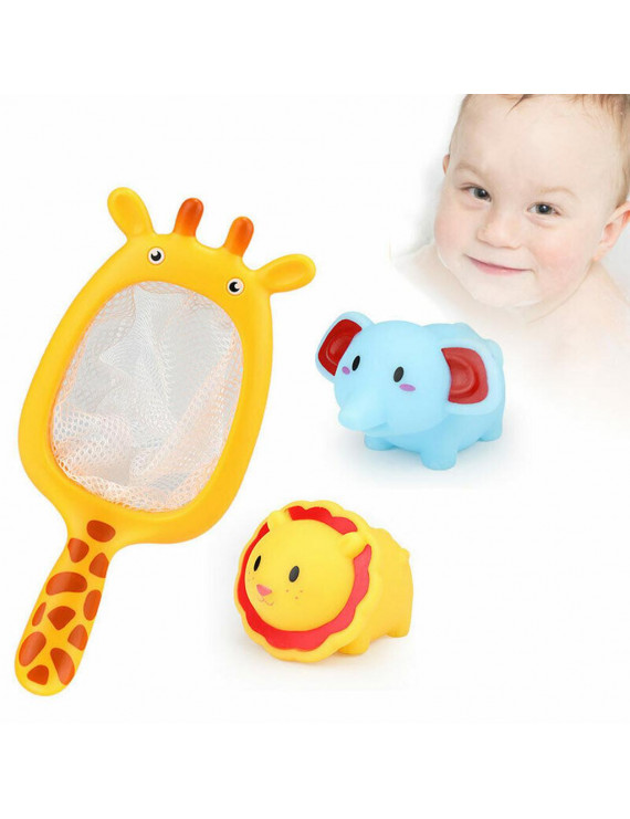 Baby Bathing Floating Soft Rubber Animals Water Tub Toy Squirts Spoon-Net 1 Set