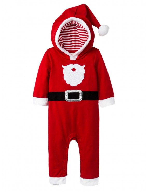 Infant Boys Red Hooded Christmas Holiday Santa Claus Baby Outfit Jumpsuit