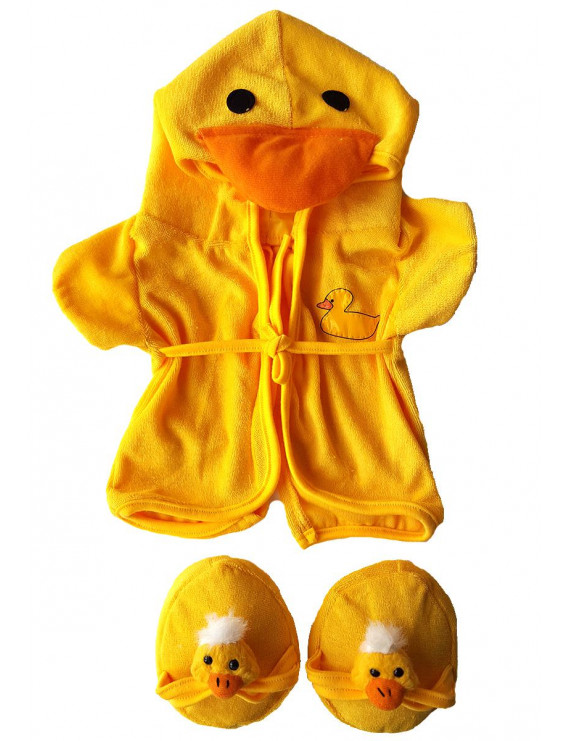"""Duck Robe & Slippers Pajamas Outfit Teddy Bear Clothes Fit 14"""" - 18"""" Build-A-Bear and Make Your Own Stuffed Animals"""