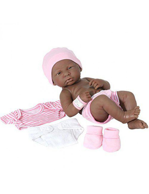 "JC Toys La Newborn 14"" All-Vinyl Baby Doll and Deluxe Pink Lafayette Gift Set - African American"