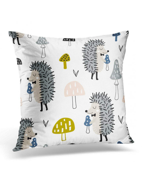 ARHOME Black Animal Childish Pattern with Cute Hedgehog and Mushrooms Creative Woodland Kids Apparel White Pillow Case Pillow Cover 20x20 inch