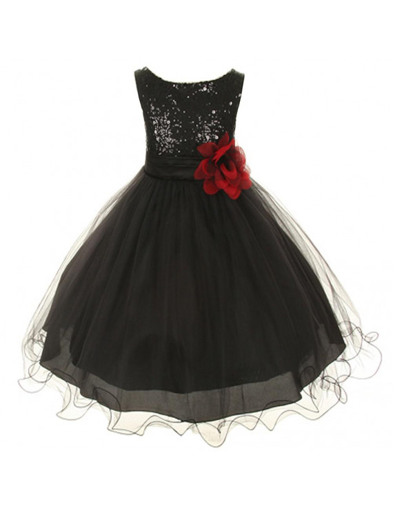 Kids Dream Baby Girls Black Sequin Double Mesh Flower Dress 24M