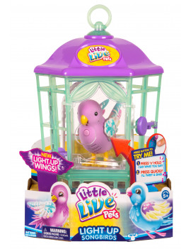 Little Live Pets Interactive Light Up Bird Electronic Pet with Cage, Rainbow Glow