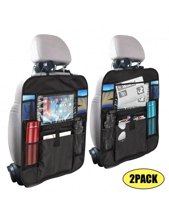 EEEkit Car Backseat Organizer with Touch Screen Tablet Holder + 6 Storage Pockets Kick Mats Car Seat Back Protectors Great Travel Accessories for Kids and Toddlers-2Pack/1Pack