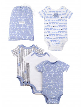 Lamaze Organic Baby Boy Short Sleeve Bodysuits Shower Gift Set, 4-pack