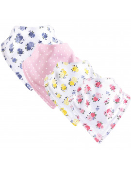 Luvable Friends Basics Baby Unisex Bandana Bibs, 4-Pack, Floral