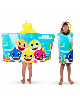 Baby Shark Kids Bath and Beach Soft Cotton Terry Hooded Towel Wrap, 100% Cotton