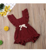 0-3Y Newborn Baby Girls Ruffle Solid Color Romper Backcross Jumpsuit Outfits Sunsuit Baby Clothing Romper