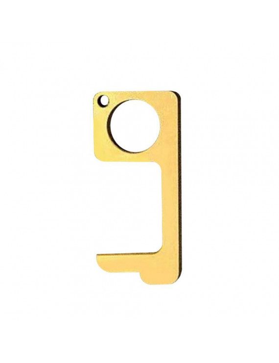 Contactless Safety Door Opener Safety Protection Isolation Brass Key Door Opener, Portable No-Touch Press Elevator Hand Stick Keychain & Stylus