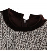 Richie House Little Girls Brown Velvet White Lace Accents Puff Sleeve Dress 5/6