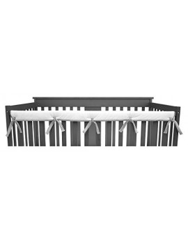 """American Baby Company 1 Pack Heavenly Soft Narrow Reversible Crib Rail Cover for Long Rail, Gray/White, for Rails Measuring up to 4"""" Folded"""
