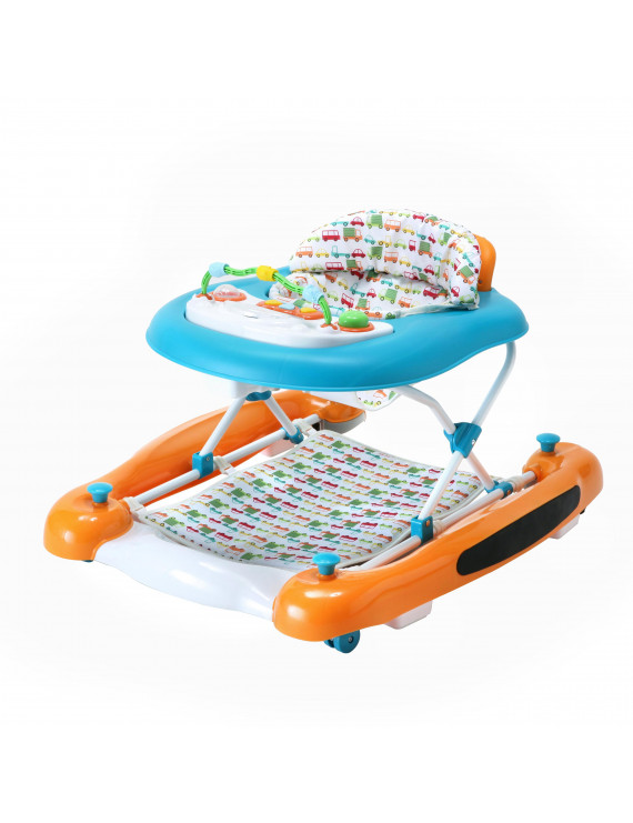Dream On Me Go-Getter 3-in-1 Activity Baby Walker, Rocker, And Walk-Behind, Orange