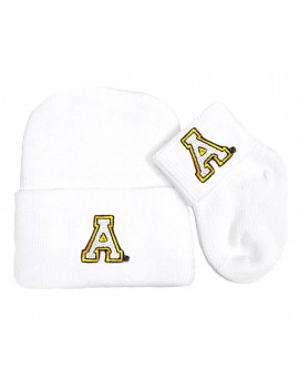 Appalachian State Mountaineer Newborn Knit Cap and Socks Baby Gift Set