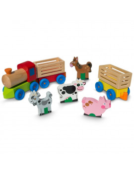 BestPysanky 4 Farm Animals on Wooden Train with 2 Cars Toy Set
