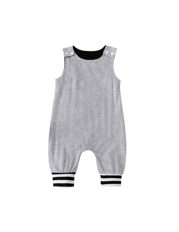 Baby Rompers Toddler Jumpsuit Solid Sleeveless Cotton Outfit Snap Button Opening Infant Summer One-piece Bodysuit Baby Pajamas Classic Design