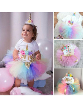 3PCS Baby Girls 1st Birthday Outfit Party Romper Skirt Cake Smash Tutu Dress
