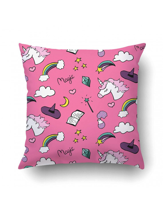 BPBOP Pattern With Unicorn Stars Moon Rainbows Crystal Books On Pink Magic Collection Pillowcase Pillow Cushion Cover 18x18 inch