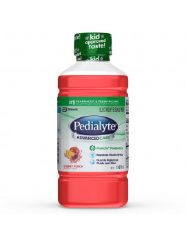 (4 pack) Pedialyte AdvancedCare Electrolyte Solution with PreActiv Prebiotics, Hydration Drink, Cherry Punch, 1 Liter