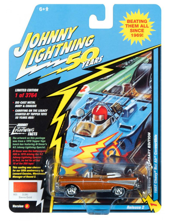 Johnny Lightning JLCG020 Classic Gold VER B 1957 Chevy Bel Air Convertible